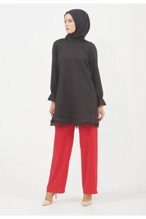 Setrms Kadın Kırmızı Cepli Bol Paça Pantolon