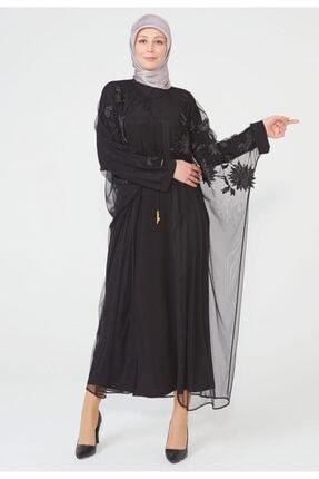 Setrms Kadın Siyah Yaprak Desen Nakış işlemeli Abay