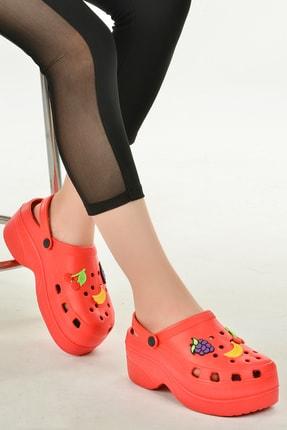 Ayakland Kadın Kırmızı Kalın Topuk Sandalet Terlik