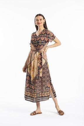 Pitti Kadın Bej Desenli Elbise 51077