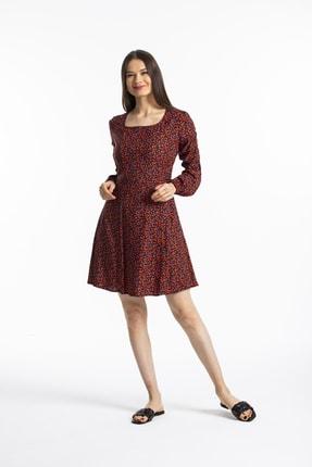 Pitti Kadın Nar Çıtır Çiçek Elbise 51105
