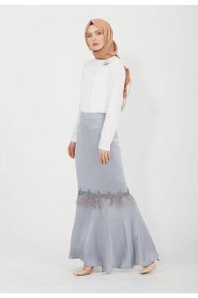 Setrms Kadın Gri Püskül Detaylı Uzun Etek