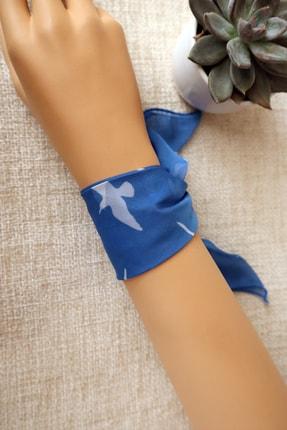 Hera Accessories Unisex Mavi Beyaz Kuş Bilek Fuları