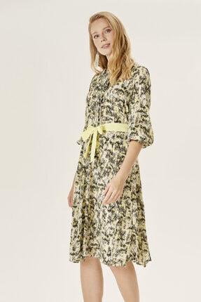 Naramaxx Kadın Sarı Desenli Kloş Elbise