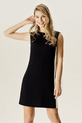 Naramaxx Kadın Siyah Ribana Yakalı Kontrast Elbise