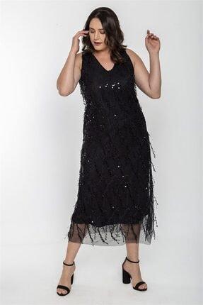 Seamoda V Yaka Saçak Pul Işleme Kolsuz Elbise-siyah