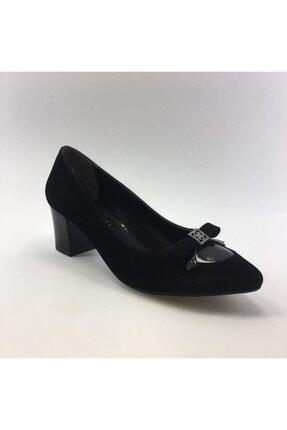 Punto Kadın Kısa Kalın Topuklu Süet Fiyonklu Ayakkabısı