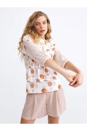 XINT Kadın Hardal Ekru Pamuk Rahat Kesim Bluz