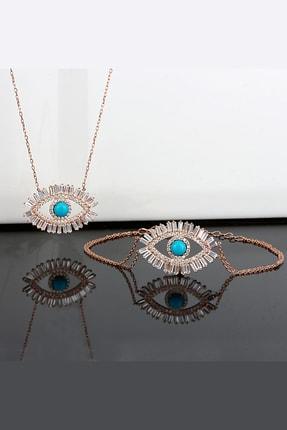 Else Silver Göz Modelli Kolye Bileklik Gümüş Kombin