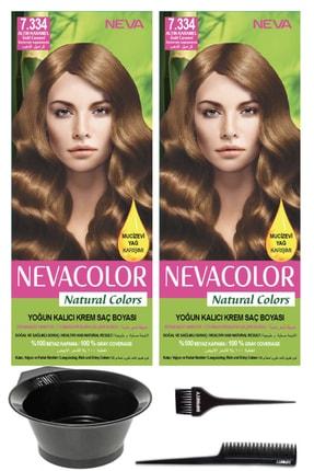 Neva Color 2'li Natural Colors 7.334 Altın Karamel - Kalıcı Krem Saç Boyası Ve Saç Boyama Seti 7681655545329