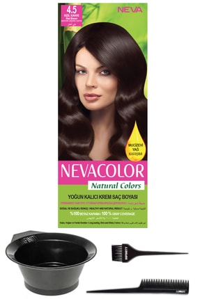 Neva Color Natural Colors 4.5 Kızıl Kahve - Kalıcı Krem Saç Boyası Ve Saç Boyama Seti 7681655544542