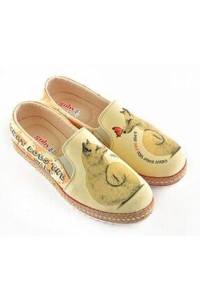 Goby Kadın Sarı Özel Tasarım Baskılı El Yapımı Ayakkabı