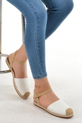 Ayakland Kadın Beyaz Günlük Bilekten Kemerli Babet Ayakkabı