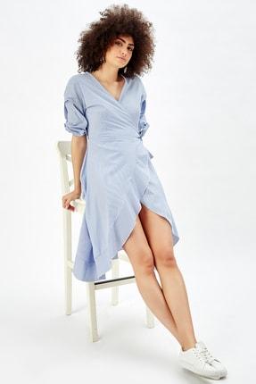 Sense Kadın Mavi Beyaz Çizgili  Poplin Angela Elbise elb32426
