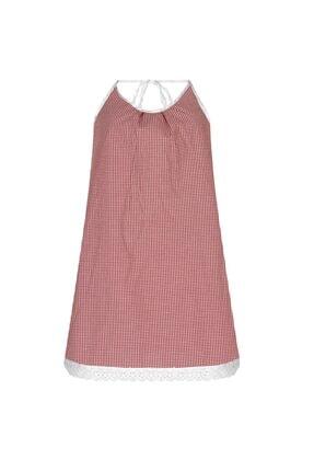 GTNight :Kadın Kırmızı Beyaz Kareli Boyundan Bağlamalı Elbise