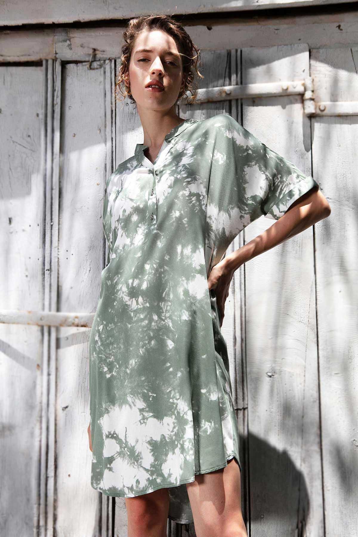 Y-London Kadın Haki Desenli Hakim Yaka Kısa Kollu Elbise Y20S110-1560-3