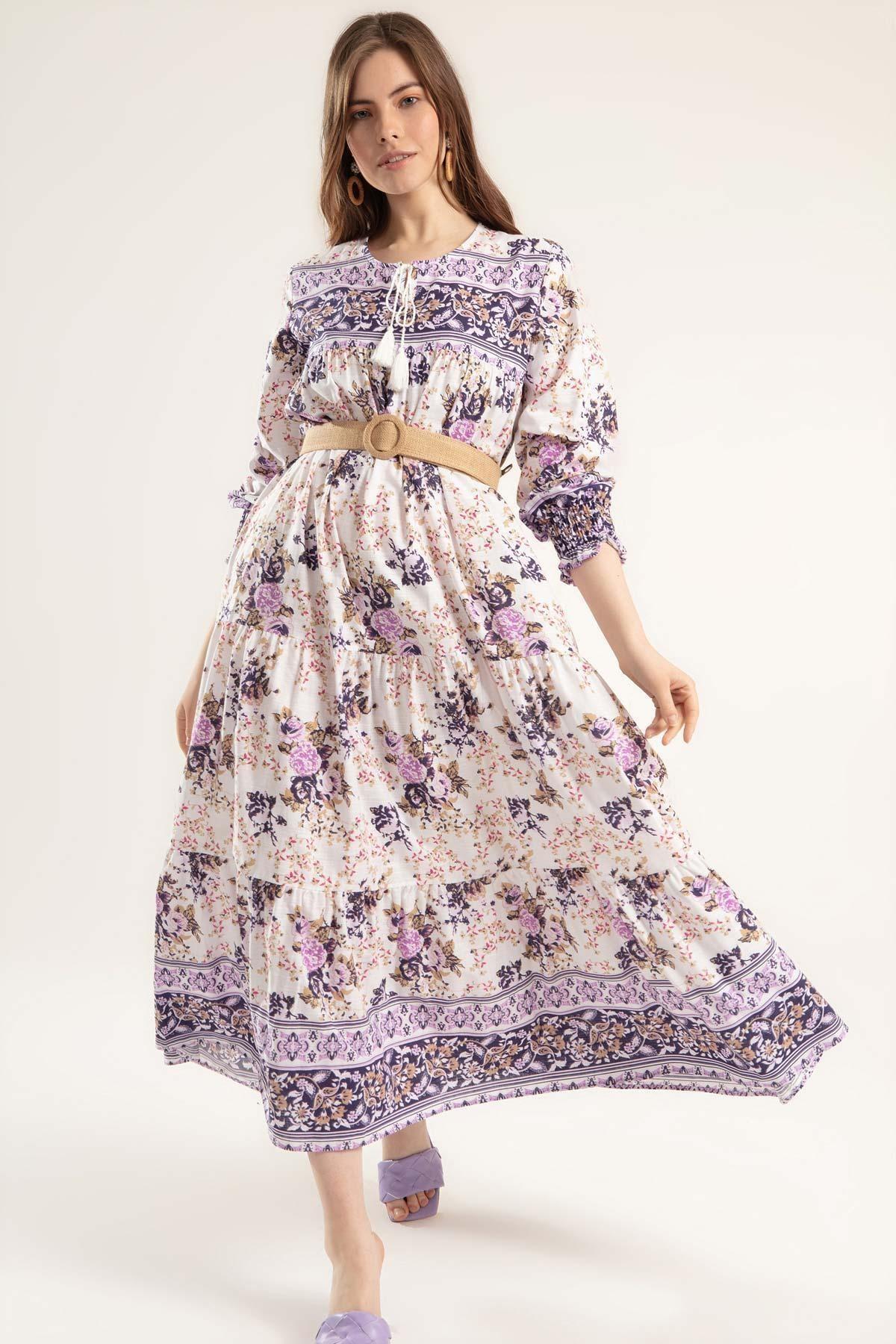 Y-London Kadın Mor Çiçek Desenli Bileği Lastikli Uzun Elbise Elbise Y20S110-1947