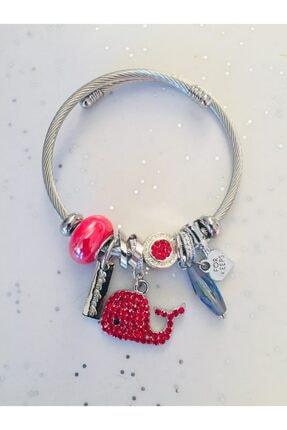 Pandora Kadın Kırmızı Balina Charmlı Şık Gümüş Kaplama Bileklik