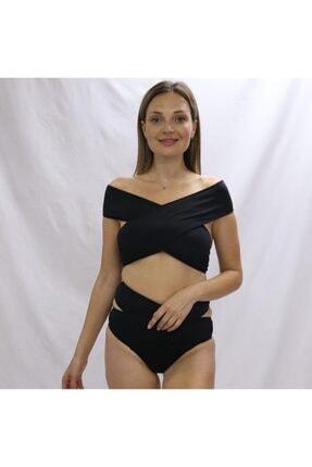 Angelsin Kadın Siyah Yüksel Bel Bikini Takımı