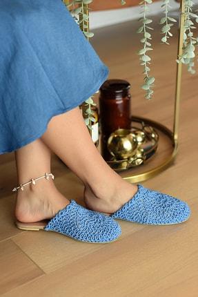 Pembe Potin Kadın Mavi Örme Sandalet
