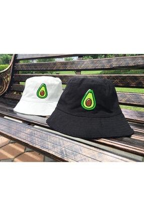 Köstebek Avokado Tasarım Beyaz Bucket Şapka