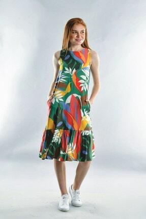 Cotton Mood Kadın Yeşil  Dok.viskon Desenli Eteği Büzgülü Kolsuz Elbise 20072006