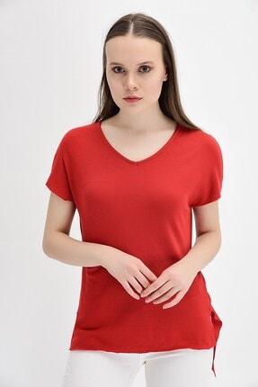 Cotton Mood Kadın Kırmızı Kaşkorse V Yaka Salaş Kısa Kol Bluz 9132735