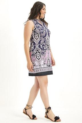 Şans Kadın Lacivert Yaka Detaylı Elbise 65N17014