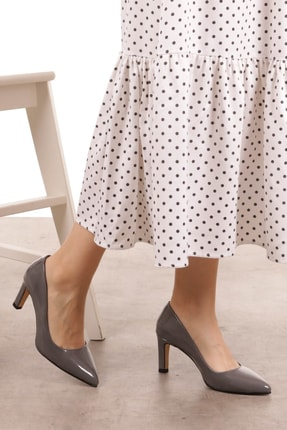 Mio Gusto Lita Gri Rugan Topuklu Ayakkabı