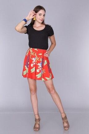 Cotton Mood Kadın Kırmızı Çıçeklı Viskon Desenli Parçalı Lastikli Kısa Etek 92814022