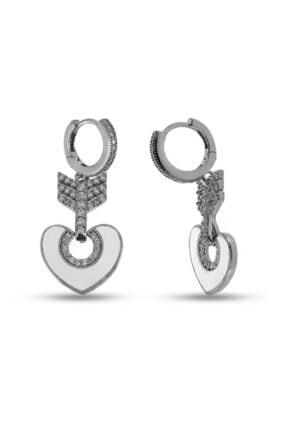 SilverPlus Kadın Beyaz Mineli Rodyumlu Kalpli Gümüş Küpe