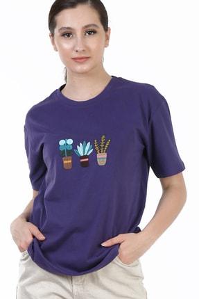 YOYOSO Kadın Mor Regular Kaktüs Nakışlı T-Shirt