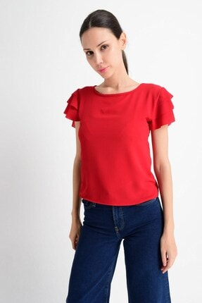 Cotton Mood Kadın Kırmızı Kobe Fırfırlı Kısa Kol Bluz 8052201