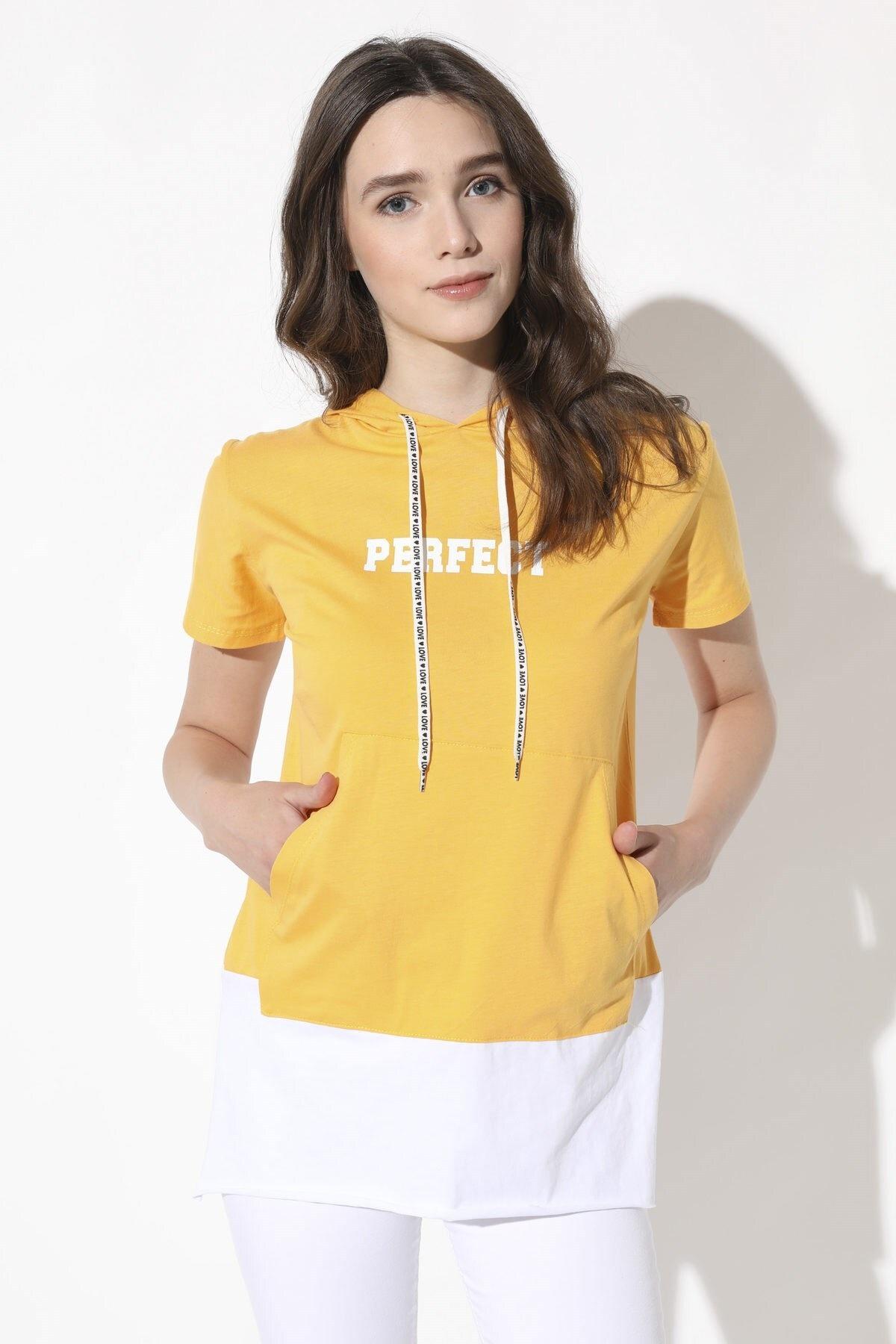 Arma Life Kadın Hardal Kapüşonlu T-Shirt 175-0Yb1019Tsh