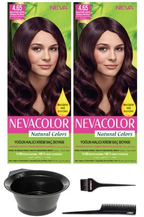 Neva Color 2'li Natural Colors 4.65 Akaju Kızıl Kahve - Kalıcı Krem Saç Boyası Ve Saç Boyama Seti