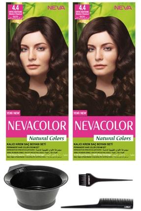 Neva Color 2'li Natural Colors 4.4 Orta Kestane - Kalıcı Krem Saç Boyası Ve Saç Boyama Seti