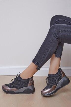 Shoes Time Kadın Siyah Platin Topuklu Spor Ayakkabı