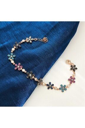 SilverPlus Kadın Firuze Ve Zirkon Taşlı Rose Gümüş Çiçek Bileklik