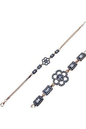 SilverPlus Kadın Pembe Baget Zirkon Taşlı Çiçekli Gümüş Bileklik