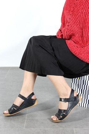 Fast Step Hakiki Deri Siyah Kadın Klasik Sandalet 763ZA05