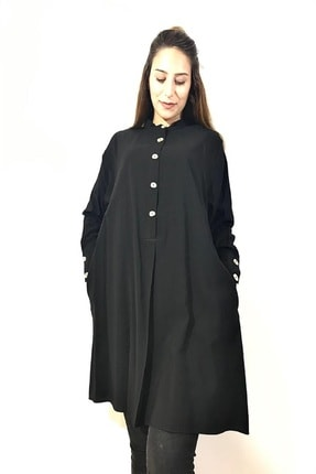 Loreen Kadın Siyah Düğmeli Salaş Tunik