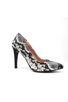 Punto Kadın Siyah Beyaz Desenli Klasik Stiletto Ayakkabı 452001z