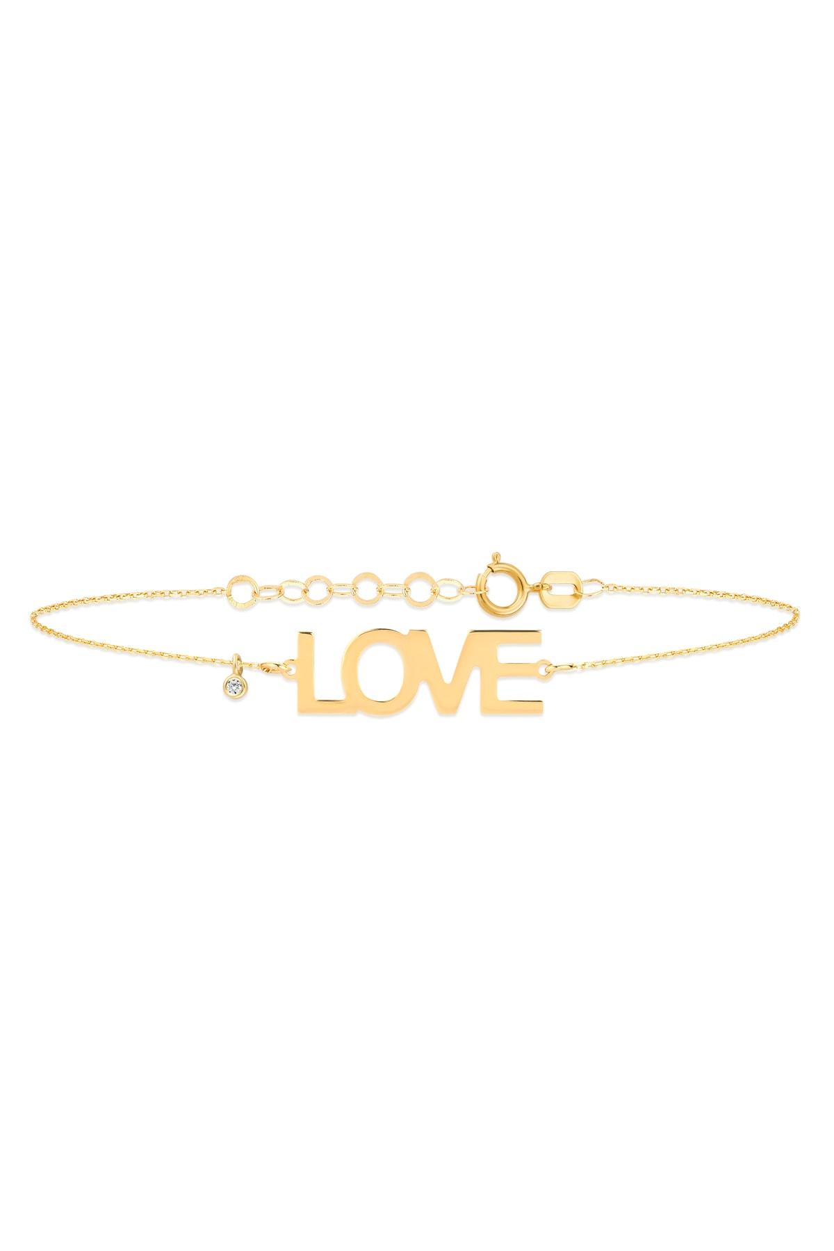 Gelin Pırlanta Kadın 14 Ayar Altın Pırlantalı Love Bileklik Gln400014