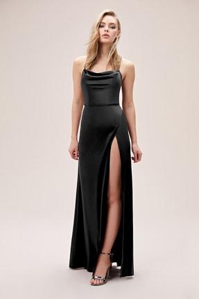 Oleg Cassini Kadın Siyah Askılı Yırtmaçlı Degaje Yaka Saten Abiye Elbise DS270091