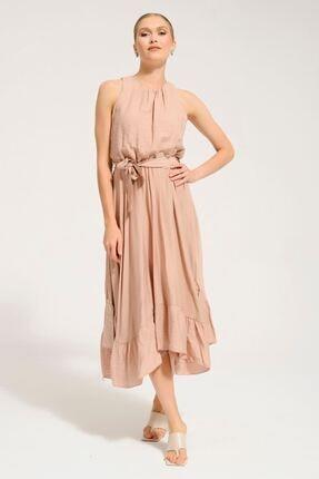 Batik Kadın Bej Düz Kısa Kol Casual Elbise Y42743