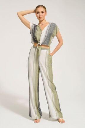 Batik Kadın Haki Çizgili Casual Kısa Kol Bluz Y42733