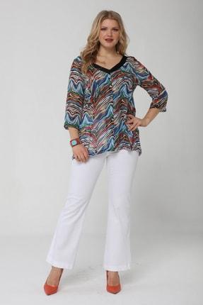 Günay Kadın Bluz Lm23151 V Yaka Çapraz Sırt Detay Şifon Renk-desenli