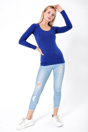Jument Pamuklu Sıfır Yaka Uzun Kol Bluz Body-indigo