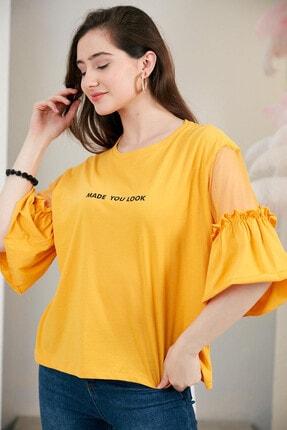 Morpile Kolu Güpür Detaylı Tshirt
