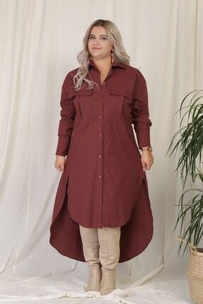 Zindi Kadın Asimetrik Gömlek Elbise Kiremit